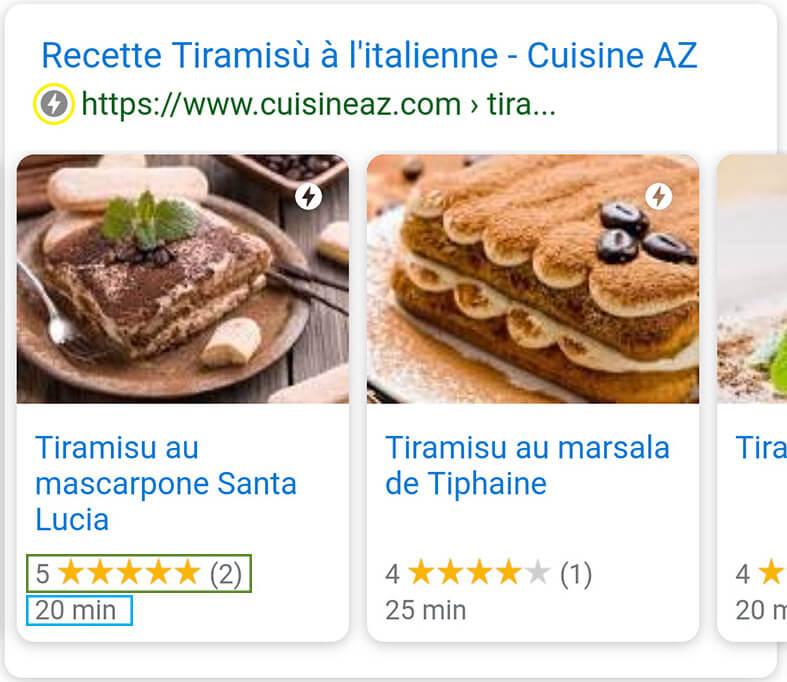 Un carrousel dans la page de recherche de Google présentant différents résultats d'article AMP pour le site cuisineaz