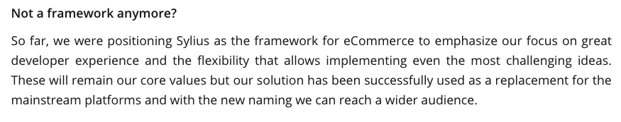 extrait de l'article dans lequel Sylius se positionne comme une plateforme e-commerce