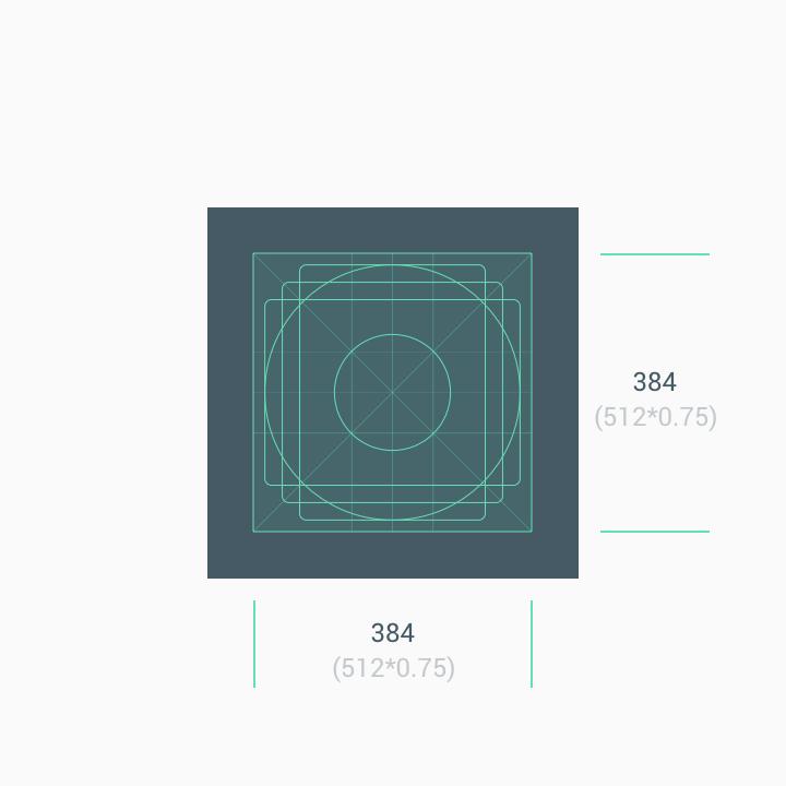 grille représentant les dimensions à respecter pour faire une icône Google Play Store