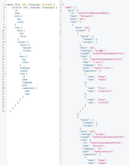 Un exemple de rendu de code du CMS e-commerce Crystallize avec GraphQL